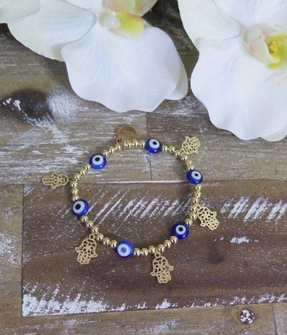 Evil Eye Hamsa Stackable Bracelet