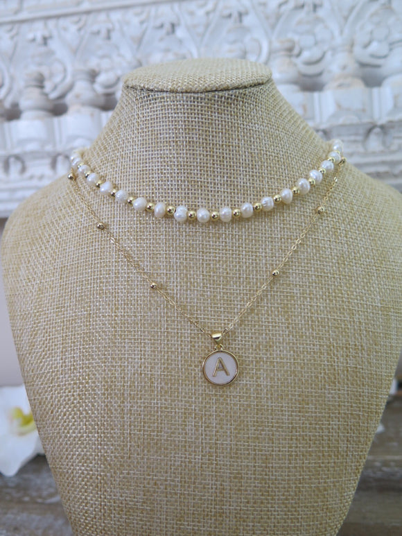 Relentless Pearl Choker and Initial Pendant Necklace