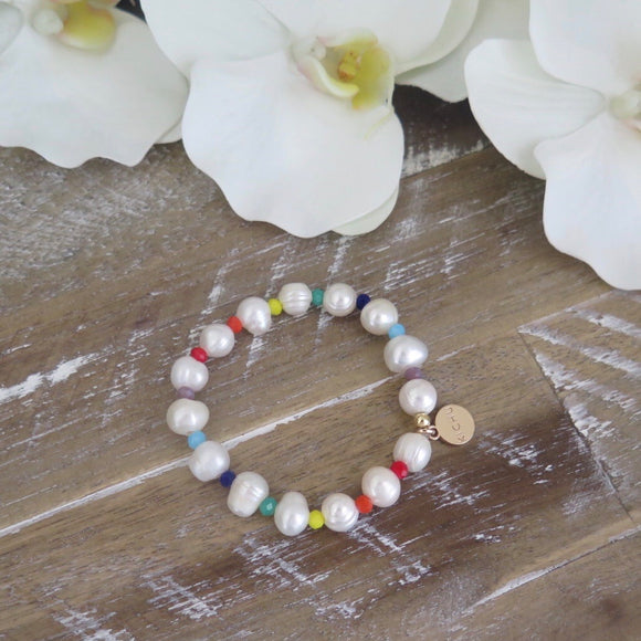 Hope Medium Rainbow Baroque Pearl Bracelet