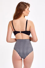 Load image into Gallery viewer, Monokini - Black & Silver Striped