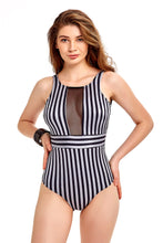 Load image into Gallery viewer, Swimming Costume - Black & Silver Striped