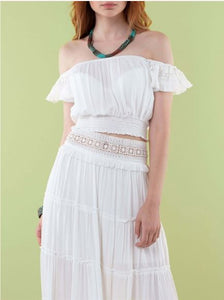 The Natural People - Blouse with Fringe Details & Maxi Skirt with Laces Details