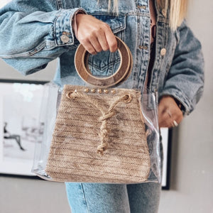 Wicker Bag with Wooden Handle