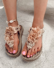 Load image into Gallery viewer, Beige Sponge Sandals with Flowers