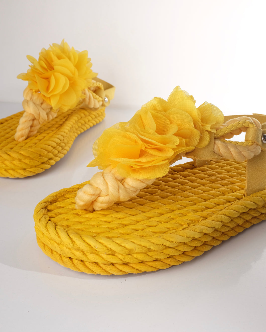 Yellow Sponge Sandals with Flowers