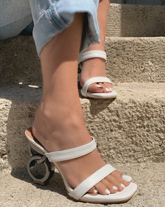 White with Silver Round Heel