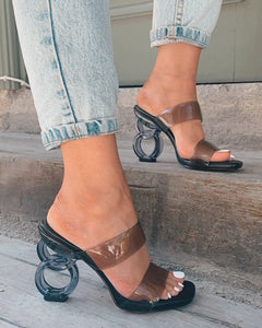 Transparent Black Round Heels