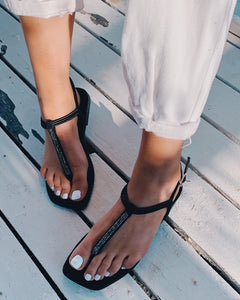Black Suede Stone Detailed Flip Flops