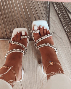 White High Heels with Shiny Stones