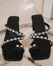 Load image into Gallery viewer, Black High Heels with Shiny Stones