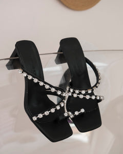 Black High Heels with Shiny Stones