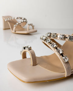 Nude High Heels with Shiny Stones