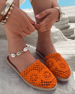Orange Straw Knit Detailed Slippers