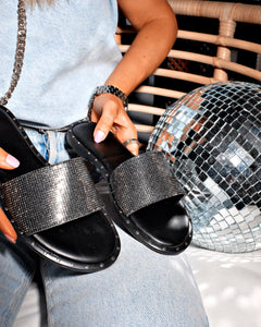 Black & Platinum Matte Leather Stone Detailed Slippers