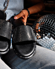Load image into Gallery viewer, Black & Platinum Matte Leather Stone Detailed Slippers