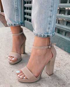 Nude Suede High Heels
