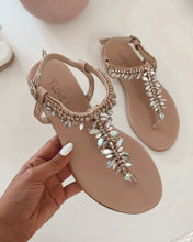 Load image into Gallery viewer, Nude Sandals with Shiny Stones