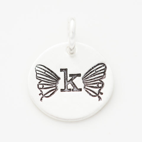 Tiny Butterfly Initial Charm