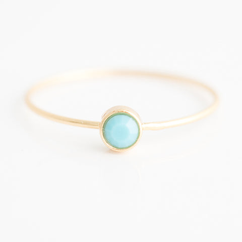 Swarovski Stacking Ring: December/Turquoise