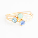 Swarovski Stacking Ring: March/Aquamarine
