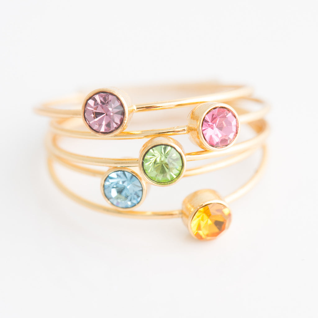 Swarovski Stacking Ring: August/Peridot