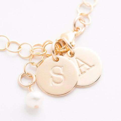 Tiny Round Initial Charm