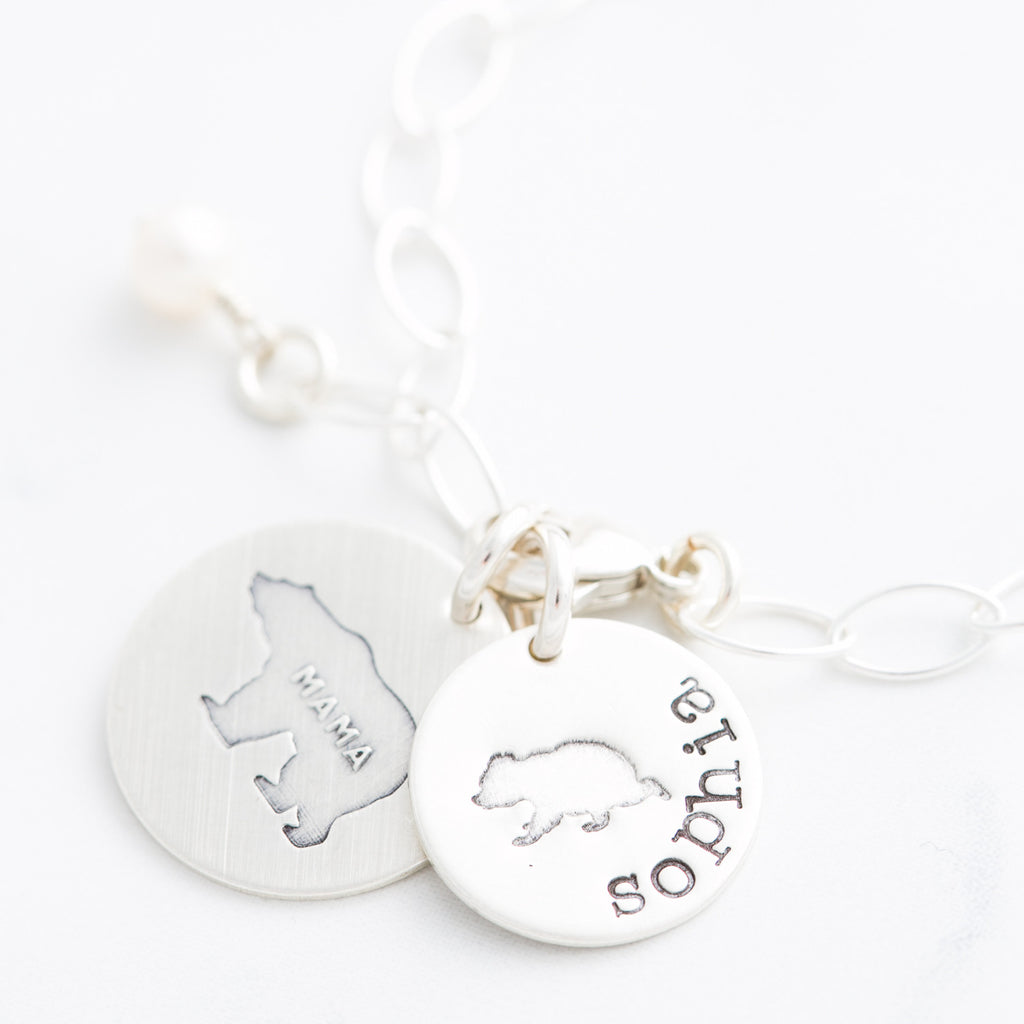 Personalized Bear Cub Charm