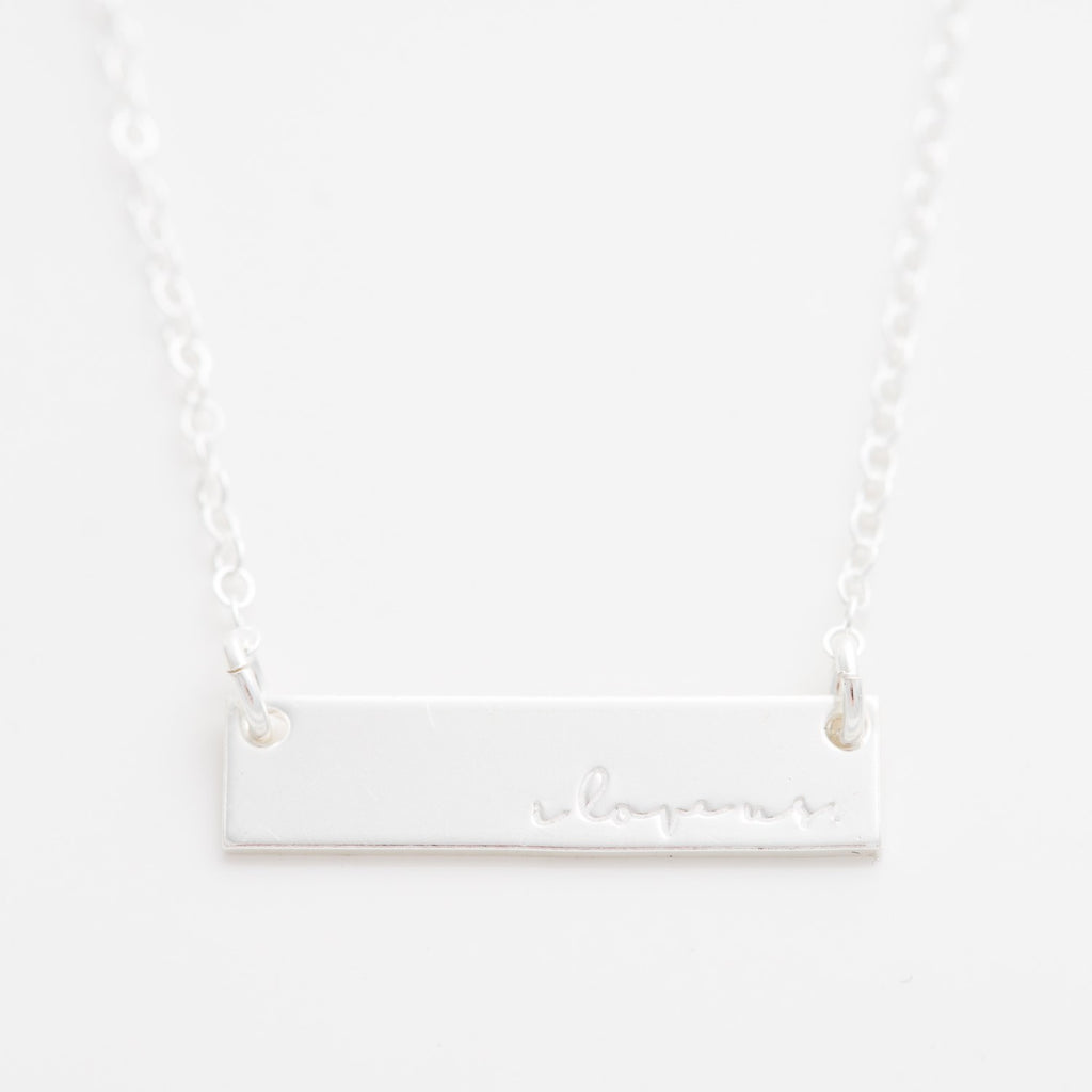 'I Love Us' Bar Necklace