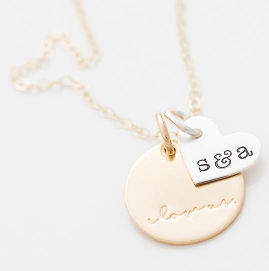 'I Love Us' and Custom Initials Tiny Heart Pair