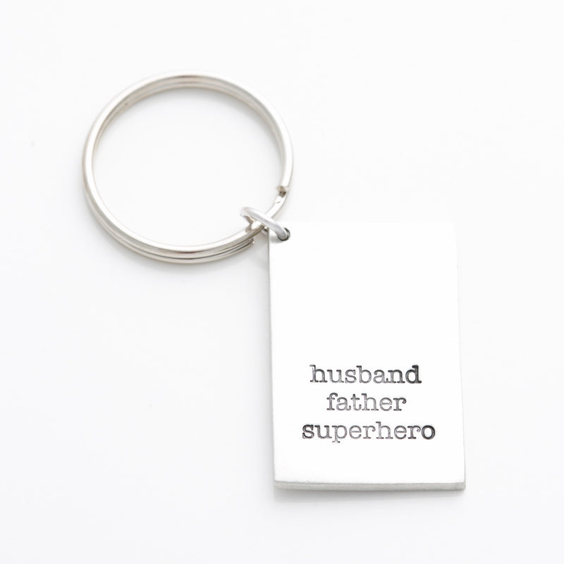 'Husband, Father, Superhero' Key Chain