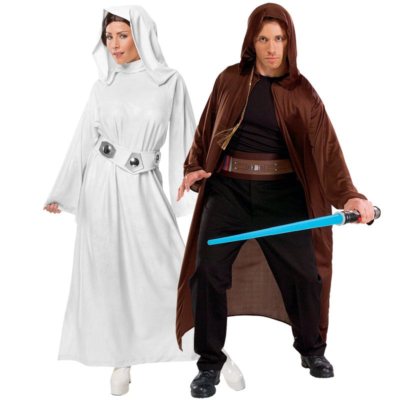Star Wars Costumes - Shows a Jedi with Princess Leia