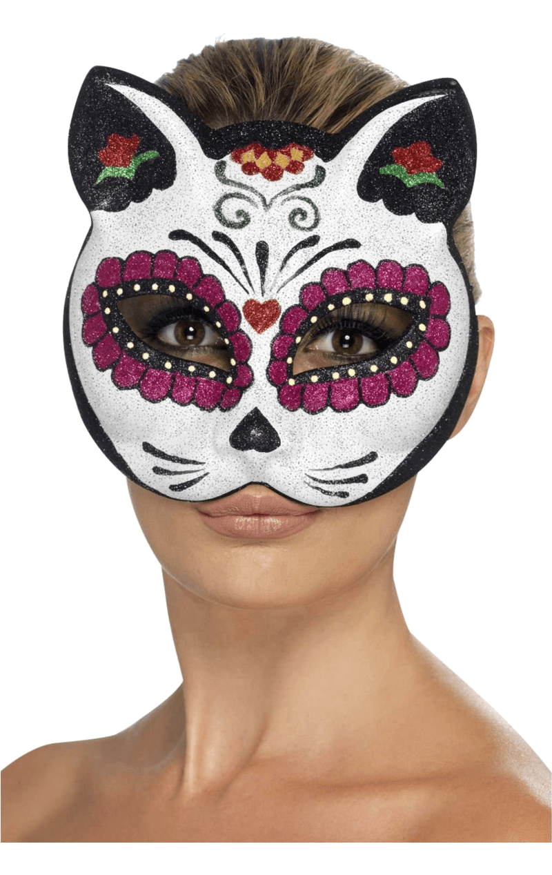 Sugar Skull Cat Facepiece Accessory