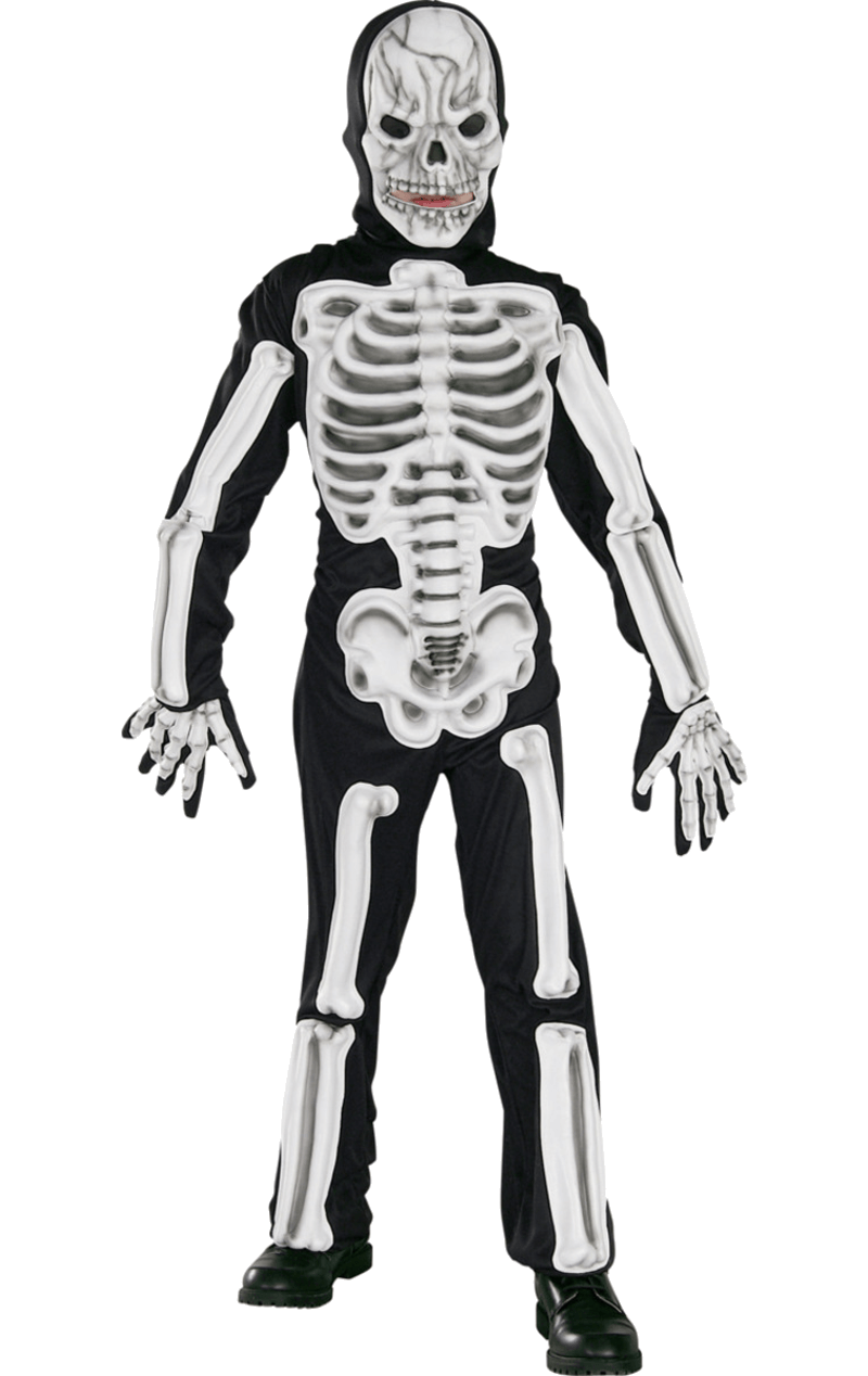 Kids Facepieceed Skeleton Costume