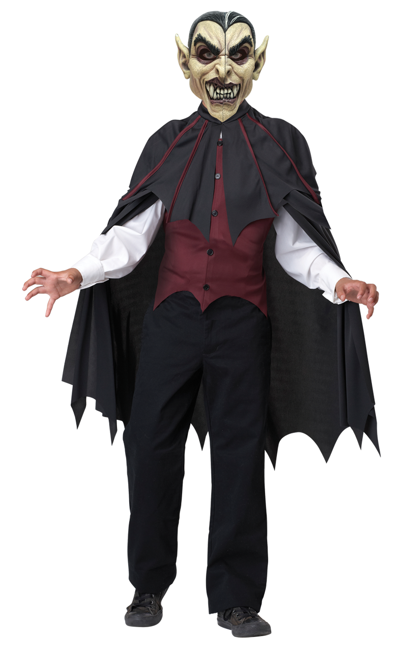 Kids Moving Facepiece Vampire Costume
