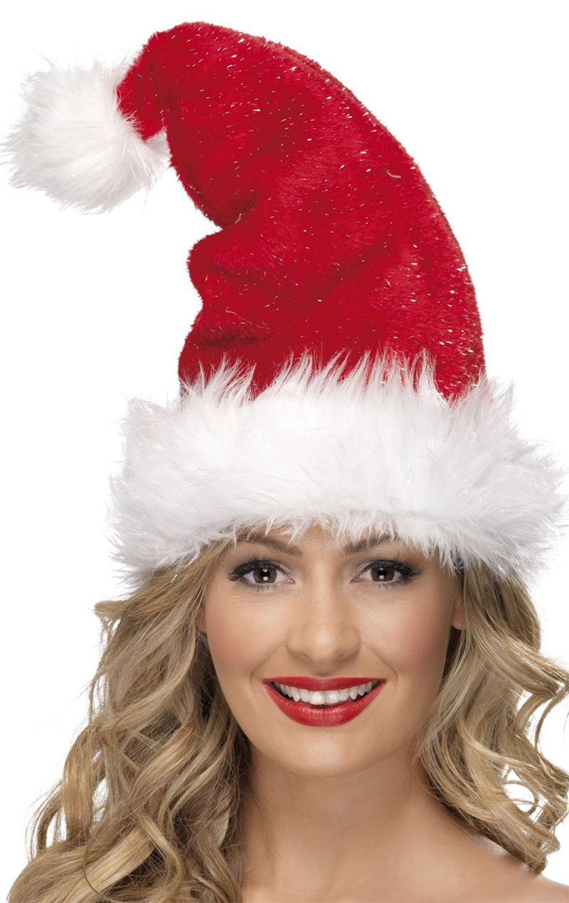 Luxury Santa Hat with Tinsel