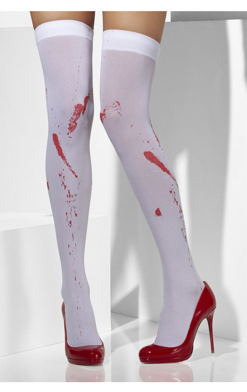 Ladies Bloody Stained Stocking Zombie Halloween Nurse School Fancy Dress Acces.
