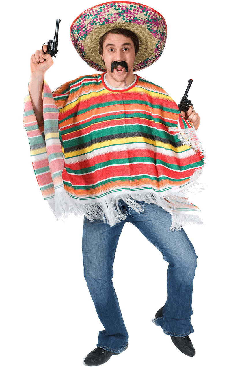 Adult Rainbow Mexican Poncho