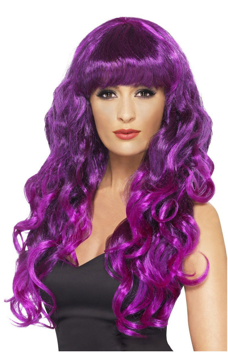Siren Long Curly Purple Wig