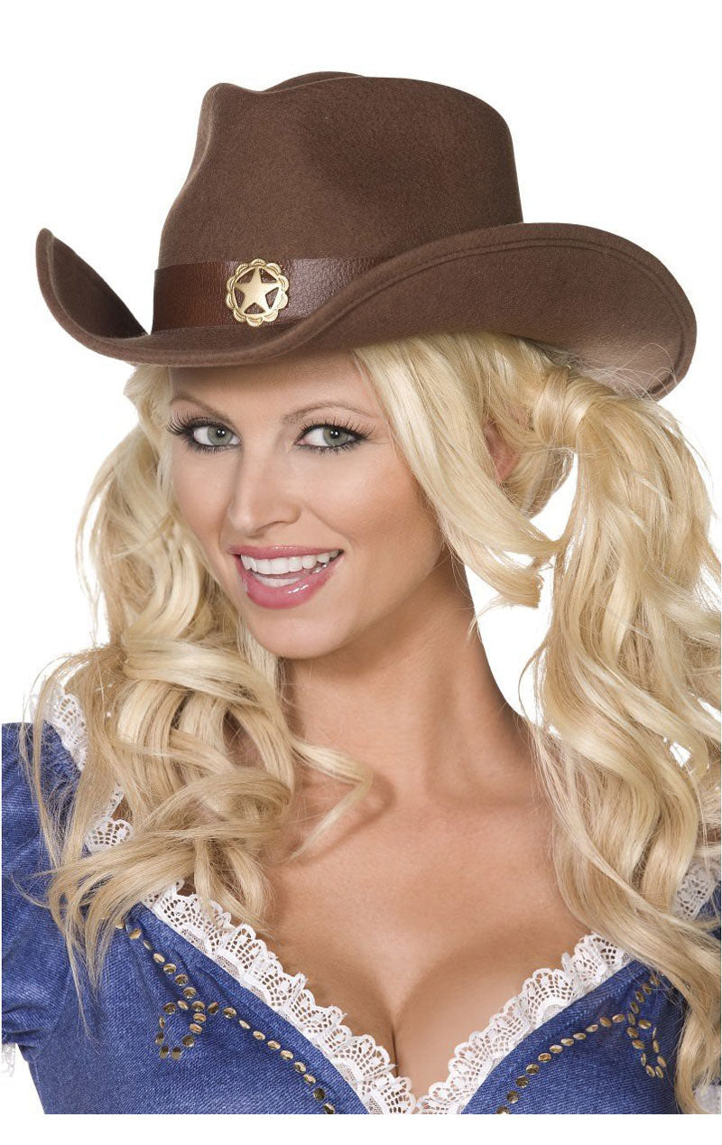 Brown Wild West Cowgirl Hat