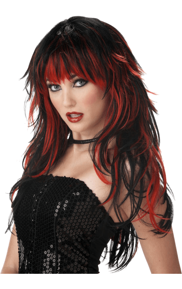 Tempting Layered Black & Red Wig