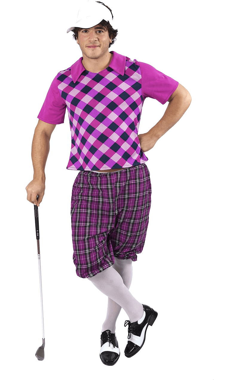 Mens Pub Golf Costume - Pink