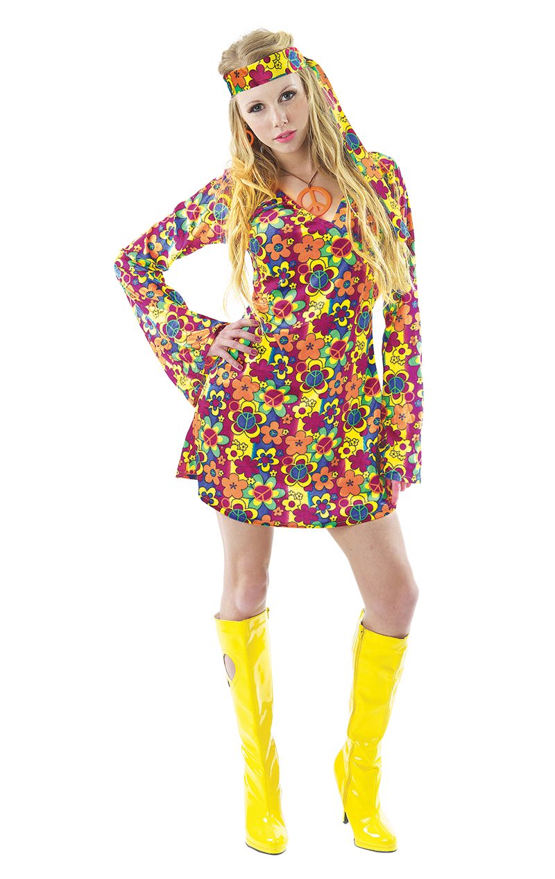Ladies Flower Hippy Costume