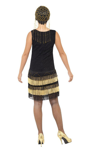 Golden Fringe Flapper Dress