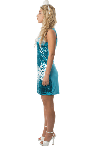 Womens Sequin Snowflake Dress