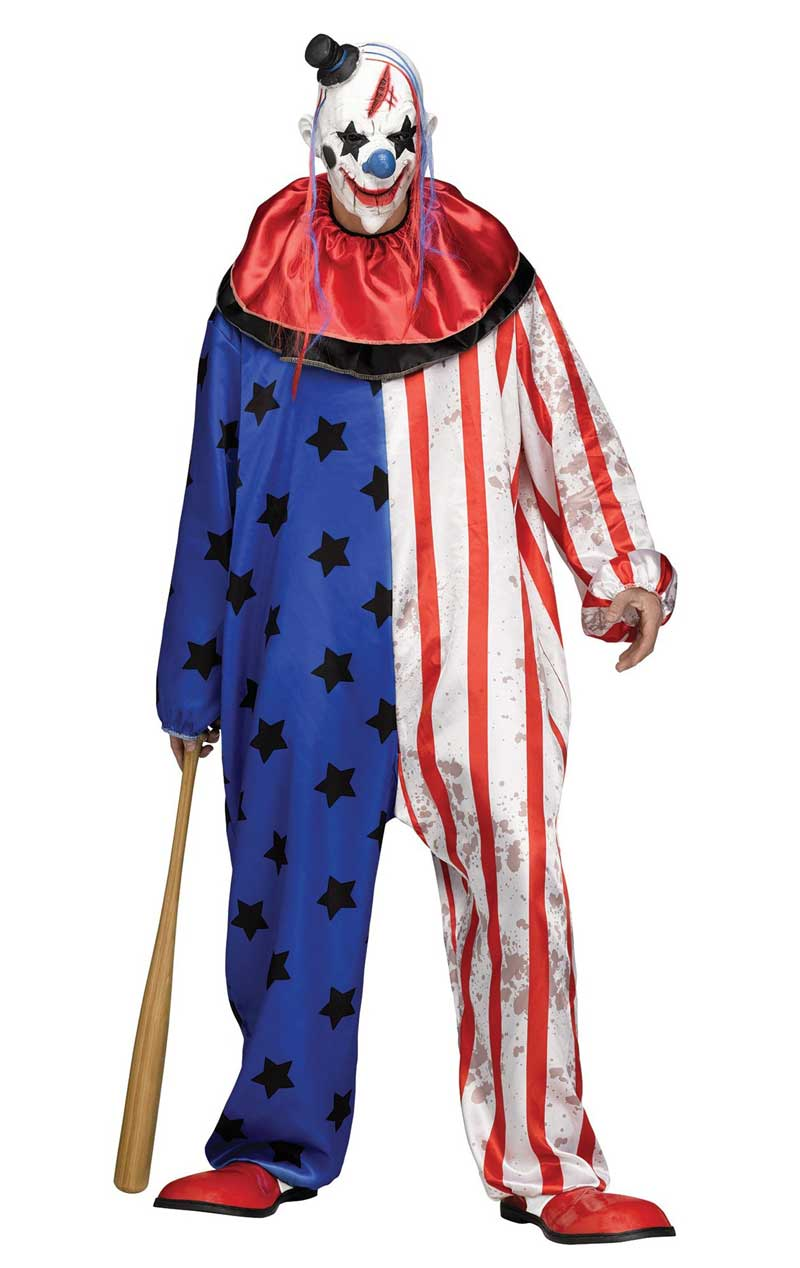 Stars and Stripes Clown Costume