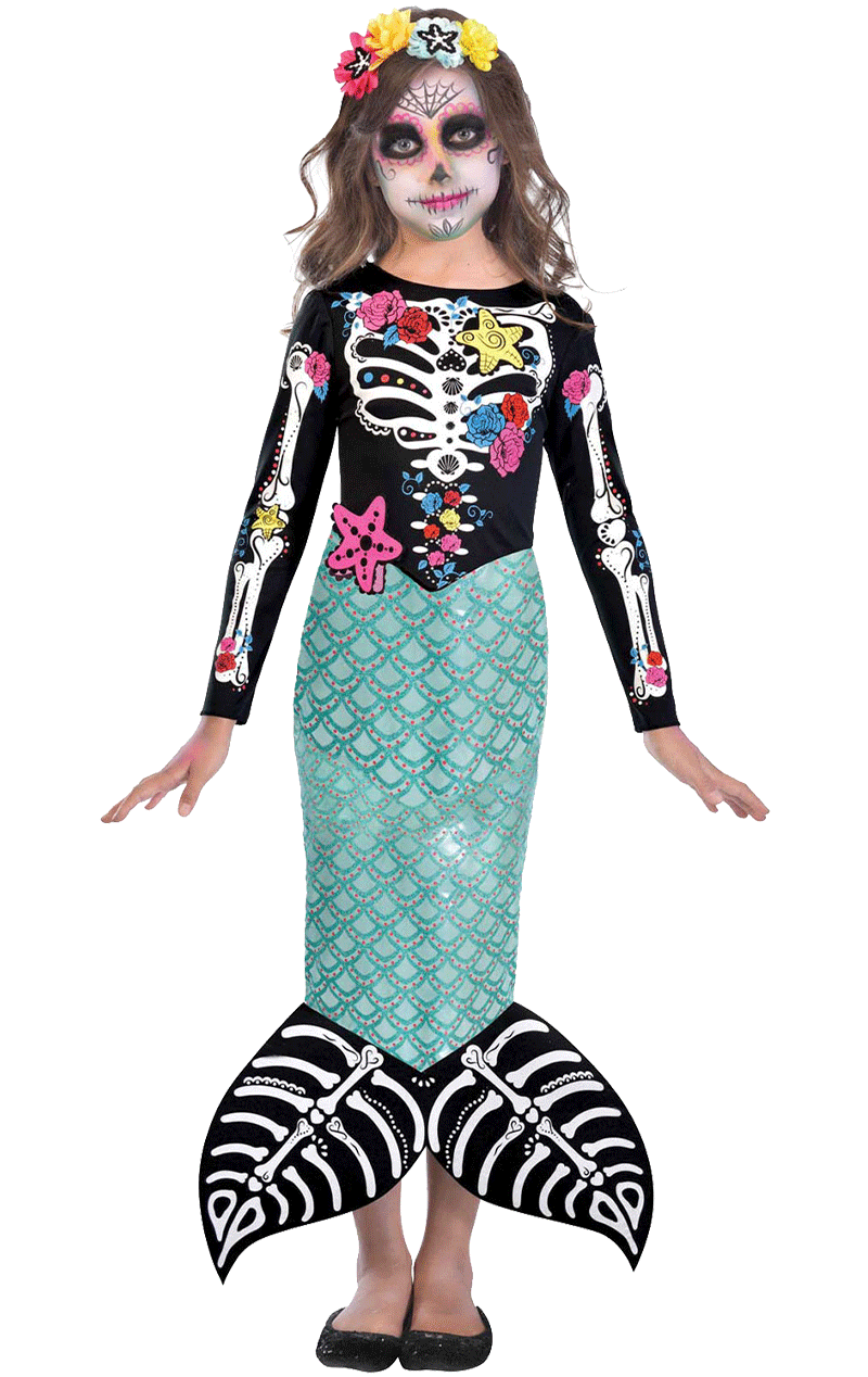 Kids Day of the Dead Mermaid Costume