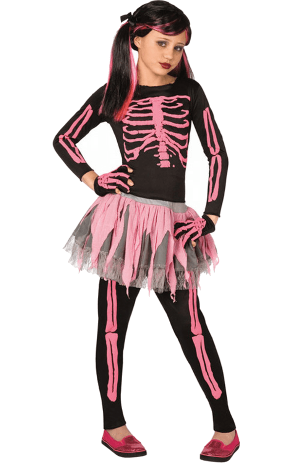 Kids Pink Skeleton Tutu Costume