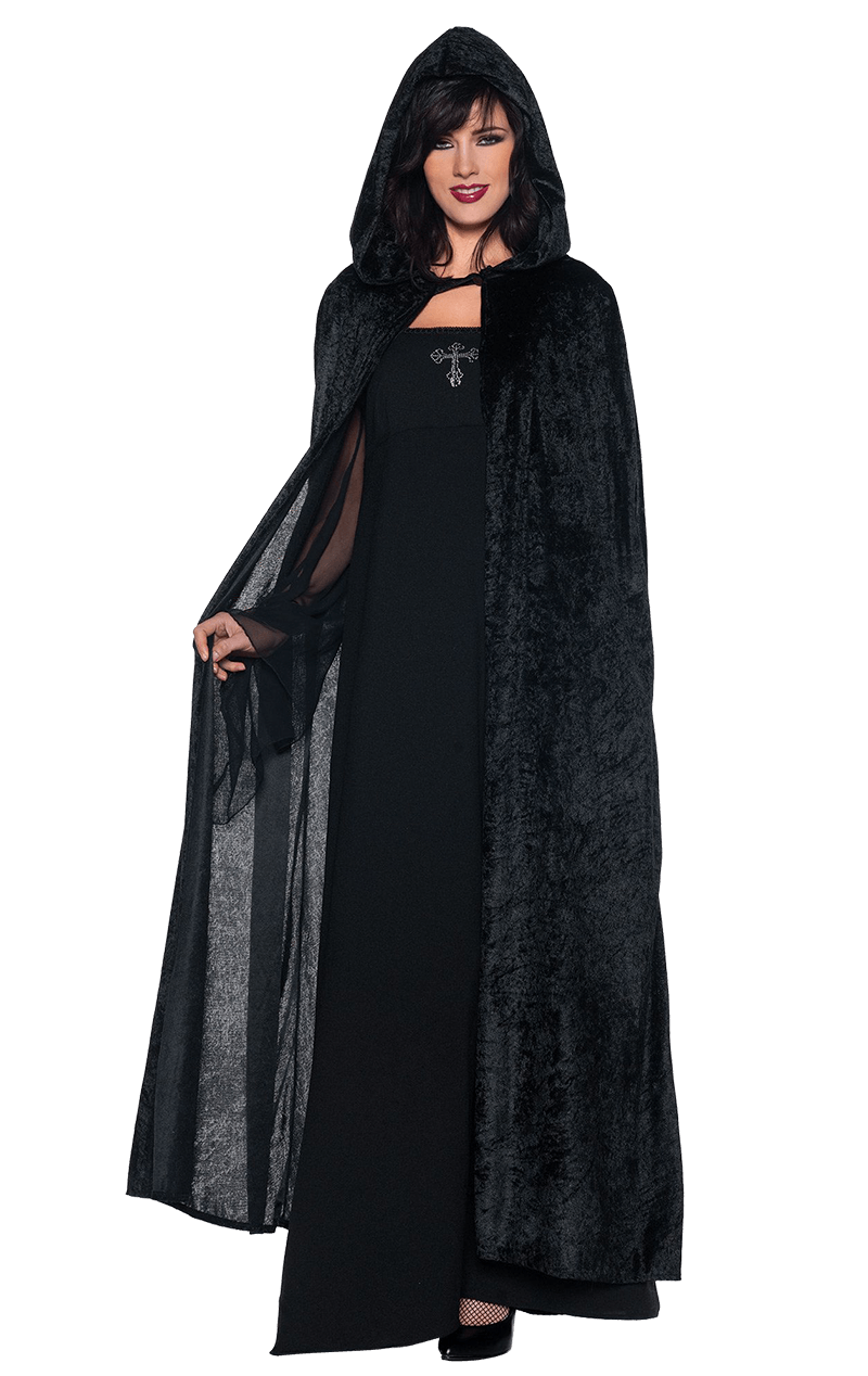 Full Length Black Hooded Cloak