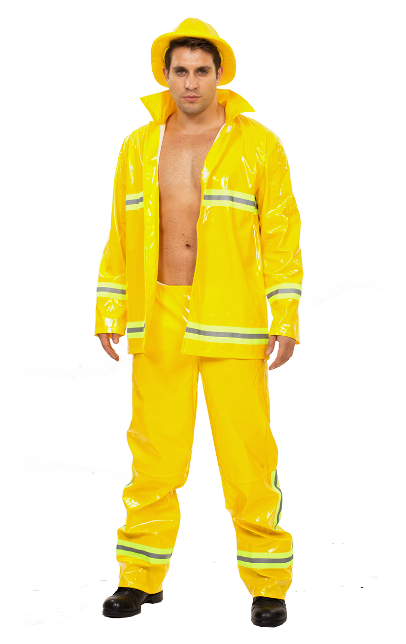Mens Yellow Fireman Costume