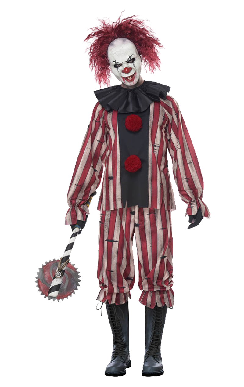 Adult Mens Scary Zombie Clown Halloween Circus Fancy Dress Costume Outfit